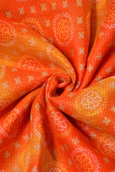 Orange n Red Bandhej Print Kota Doria Fabric