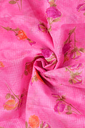 Light Pink Flower Print Kota Doria Fabric