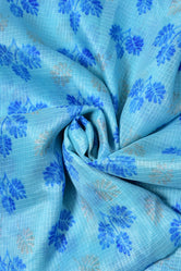 Sky Blue Flower Print Kota Doria Fabric