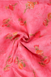 Peach Flower Print Kota Doria Fabric