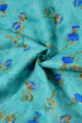 Mint Blue Flower Print Kota Doria Fabric
