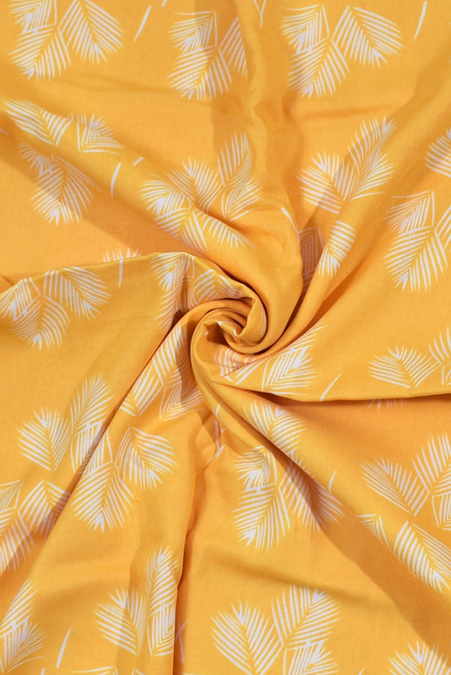 Yellow Leaf Print Rayon Fabric