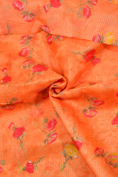 Orange Flower Print Kota Doria Fabric