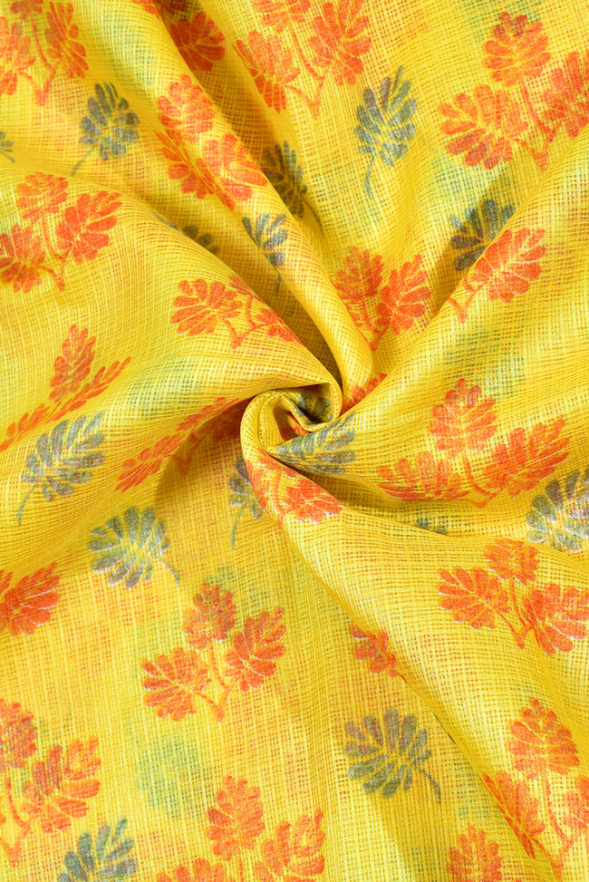 Yellow Flower Print Kota Doria Fabric