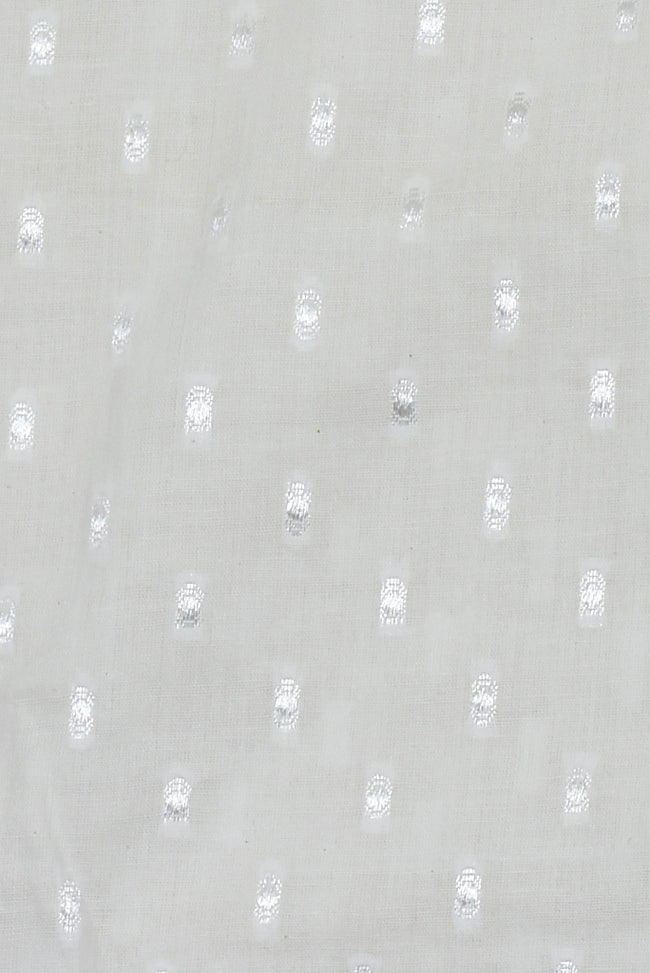 White Self Dot Print Mul Cotton Fabric