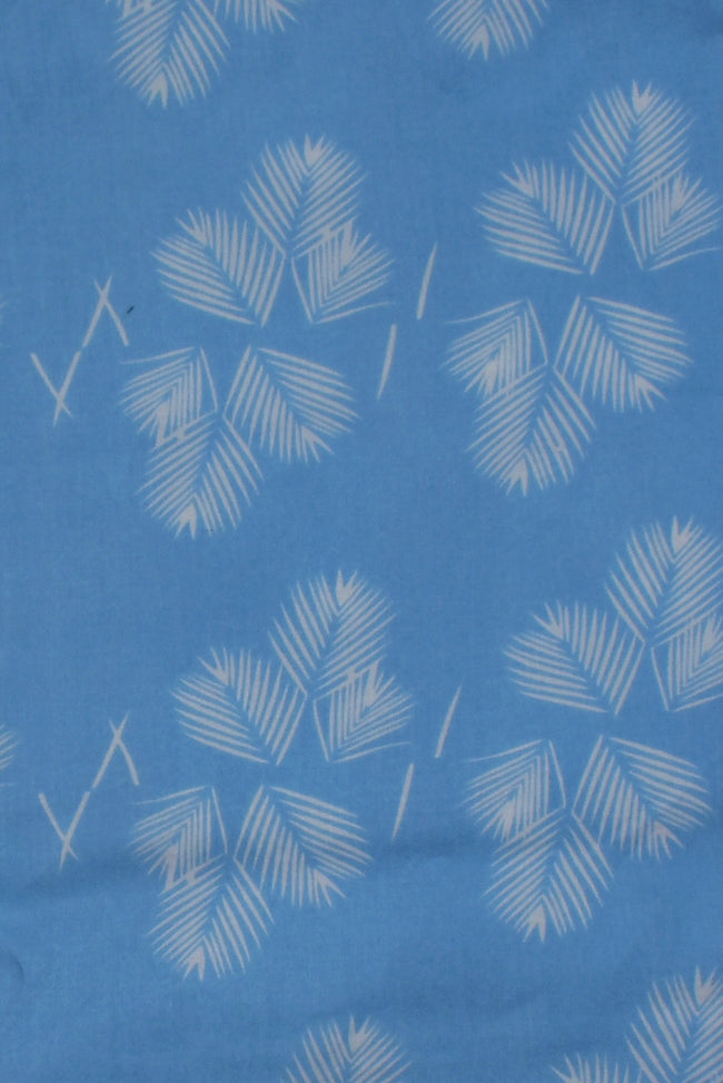 Sky Blue Leaf Print Rayon Fabric