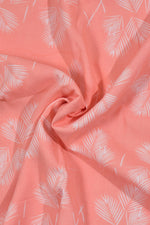 Peach Leaf Print Rayon Fabric