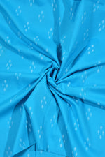 Sky Blue Abstract Print Cotton Fabric