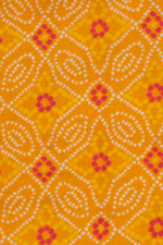 Yellow Bandhej Print Cotton Fabric
