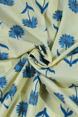 Pale Green Flower Print Rayon Fabric