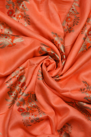 Peach Gold Flower Rayon Fabric