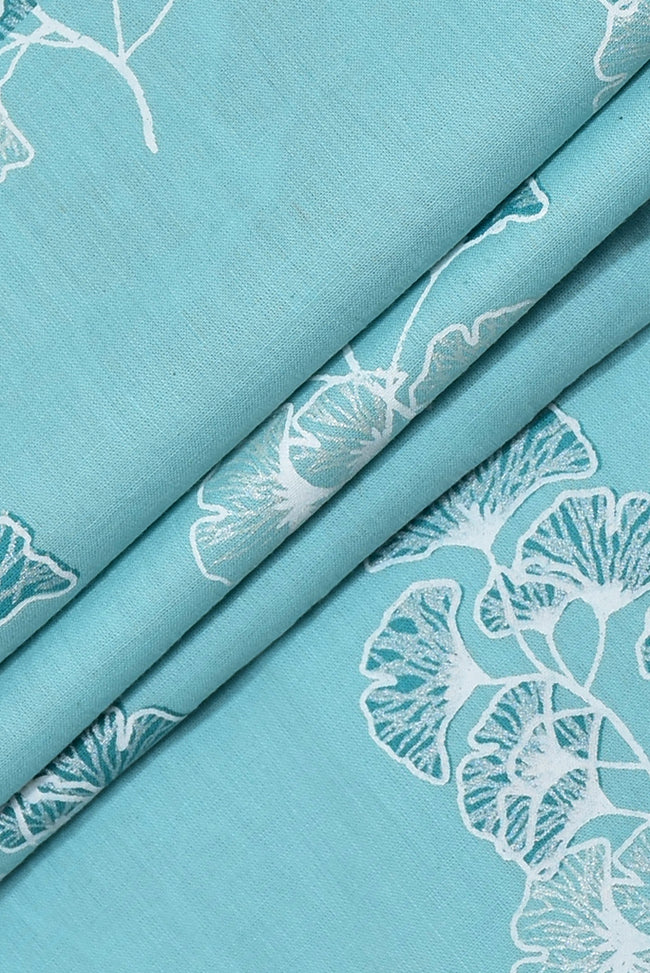 Seagull Blue Flower Print Cotton Fabric