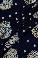 Blue Geometric Print Cotton Fabric