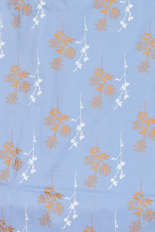 Grey Gold Flower Print Cotton Fabric