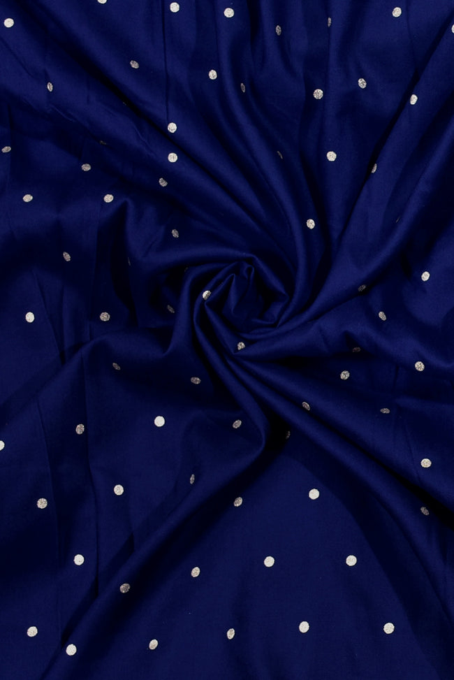 Blue Polka Dot Print Rayon Fabric