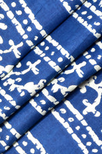 Blue Leaf Print Cotton Fabric
