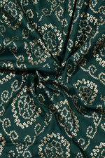 Green Gold Printed Rayon Fabric