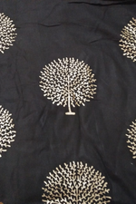 Black Gold Leaf Print Rayon Fabric