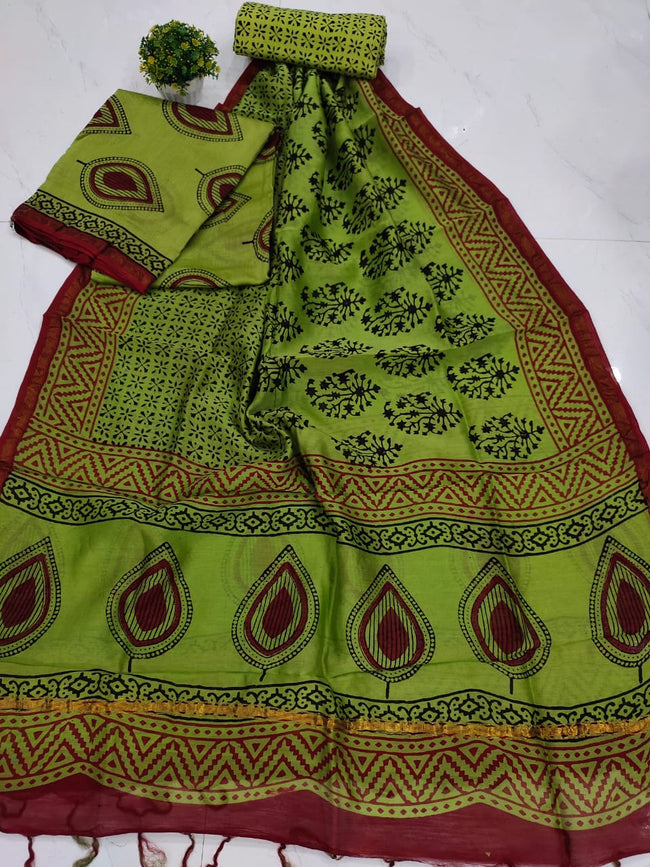 Green Leaf Print Chanderi Silk Unstitched Suit Set with Chanderi Silk Dupatta