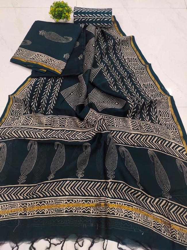 Dark Green Butta Print Chanderi Silk Unstitched Suit Set with Chanderi Silk Dupatta