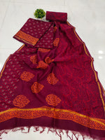 Dark Red Leaf Print Chanderi Silk Unstitched Suit Set with Chanderi Silk Dupatta