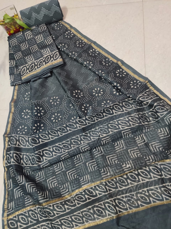 Grey Abstract Print Chanderi Silk Unstitched Suit Set with Chanderi Silk Dupatta