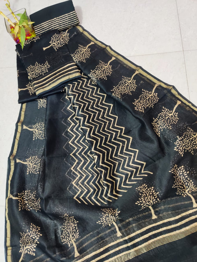 Black Tree Print Chanderi Silk Unstitched Suit Set with Chanderi Silk Dupatta