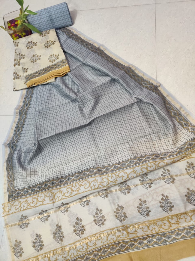 Light Grey & Cream Leaf Print Chanderi Silk Unstitched Suit Set with Chanderi Silk Dupatta