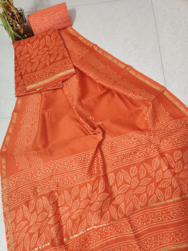 Orange Leaf Print Chanderi Silk Unstitched Suit Set with Chanderi Silk Dupatta