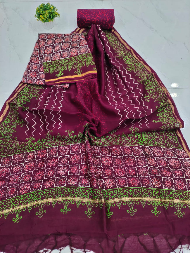 Dark Violet Zig Zag Print Chanderi Silk Unstitched Suit Set with Chanderi Silk Dupatta