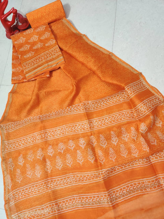 Orange Leaf Chanderi Silk Unstitched Suit Set with Chanderi Silk Dupatta