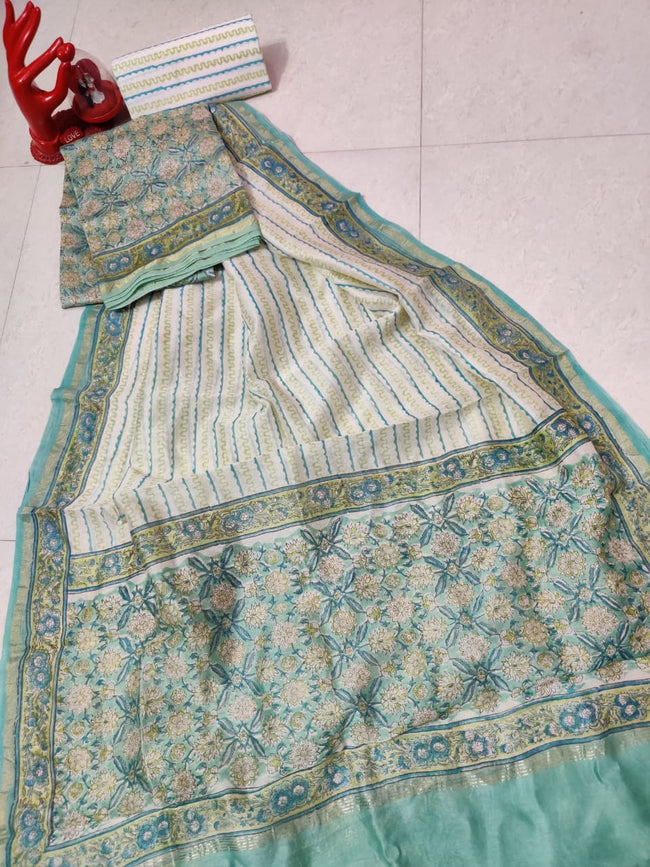 Cream & Green Flower Print Chanderi Silk Unstitched Suit Set with Chanderi Silk Dupatta