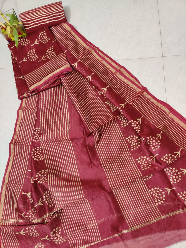 Maroon Flower Print Chanderi Silk Unstitched Suit Set with Chanderi Silk Dupatta