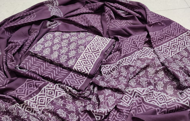 Violet Flower Print Cotton Suit Set with Cotton Duppatta