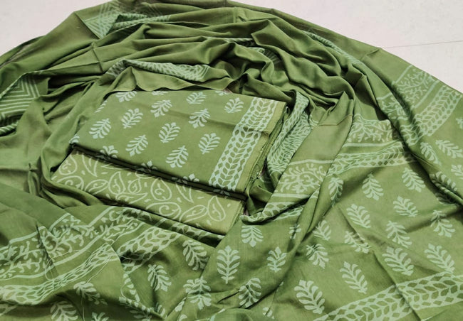Green Leaf Print Cotton Suit Set with Cotton Duppatta