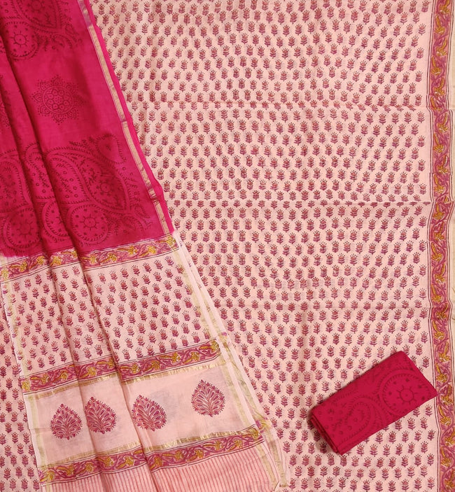 Red Flower Print Chanderi Silk Unstitched Suit Set with Chanderi Silk Dupatta