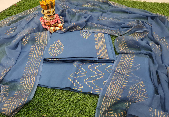 Grey Flower Print Cotton Suit Set with Chiffon Dupatta