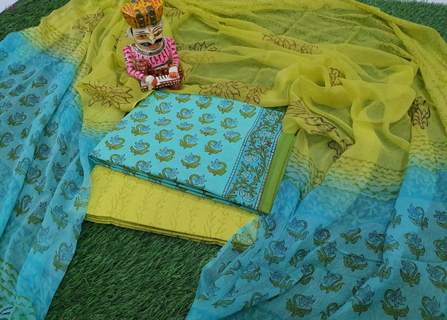 Green & Blue Flower Print Cotton Suit Set with Chiffon Dupatta
