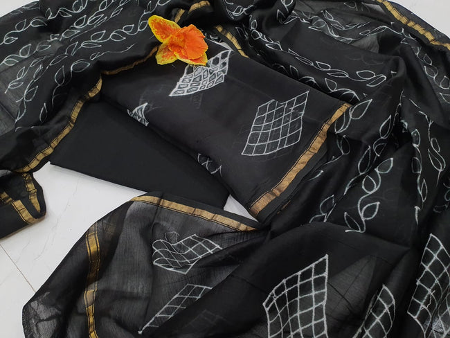 Black Leaf Print Cotton Suit Set with Chiffon Dupatta