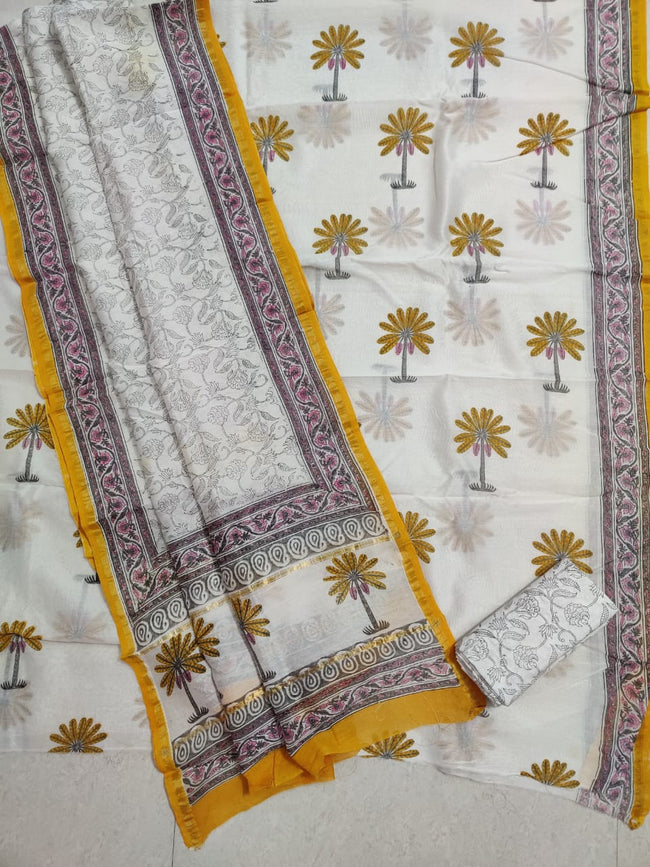 Off White Tree Print Chanderi Silk Unstitched Suit Set with Chanderi Silk Dupatta