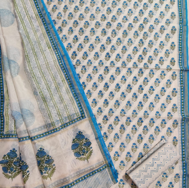 Sky Blue Flower Print Chanderi Silk Unstitched Suit Set with Chanderi Silk Dupatta