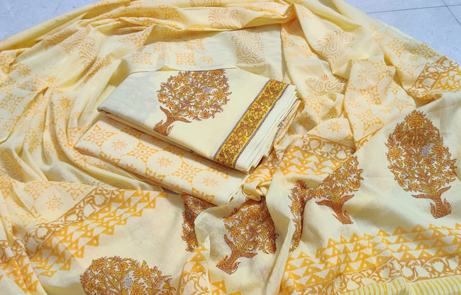 Yellow Flower Print Cotton Suit Set with Cotton Duppatta