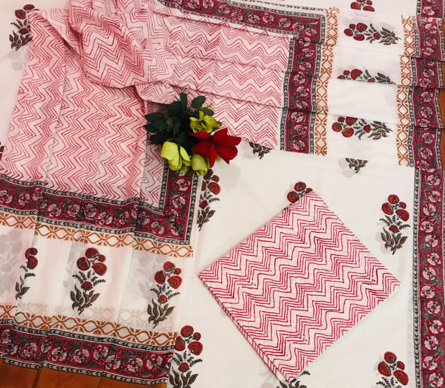 Red Flower Print Cotton Suit Set with Chiffon Dupatta