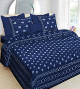 Blue Flower Print King Size Cotton Bed Sheet