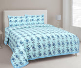 Sky Blue Flower Print King Size Cotton Bed Sheet