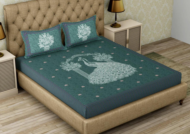Green Peacock Print King Size Cotton Bed Sheet