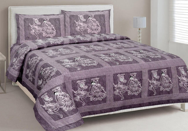 Violet Human Print King Size Cotton Bed Sheet