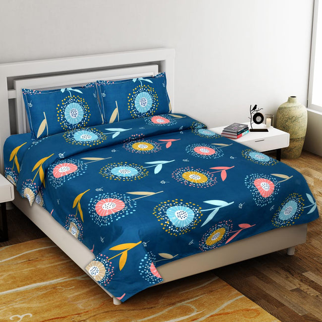 Blue Flower Print King Size Polly Cotton Bed Sheet