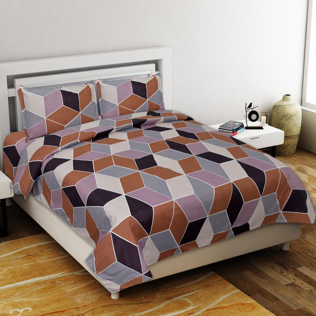 Multi Color Cubes Print King Size Poly Cotton Bed Sheet