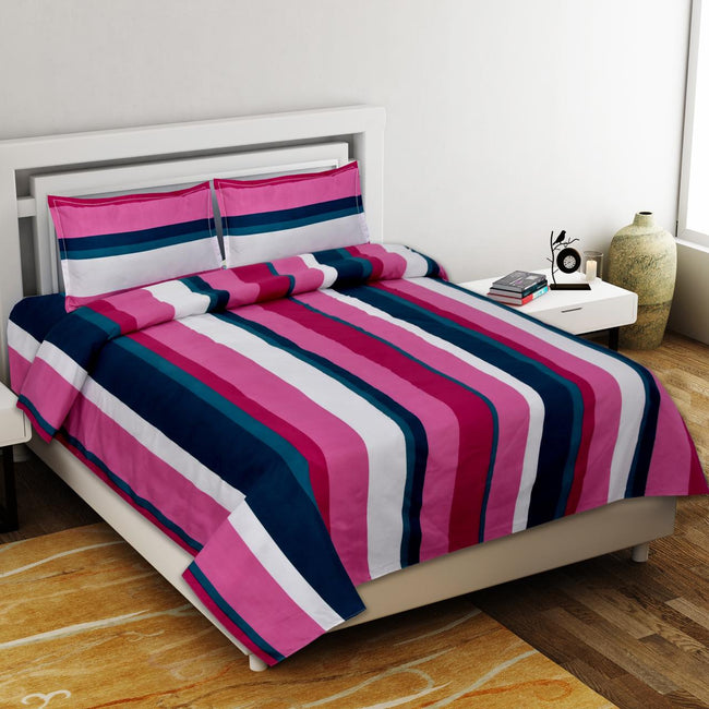 Multi Color Stripes Print King Size Poly Cotton Bed Sheet